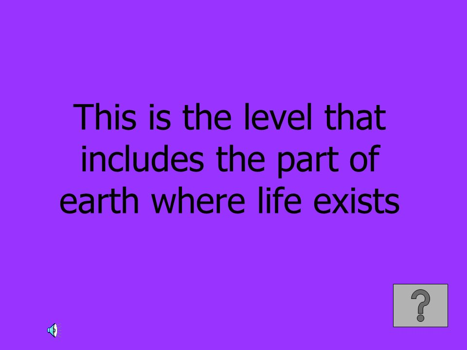 This is the level that includes the part of earth where life exists