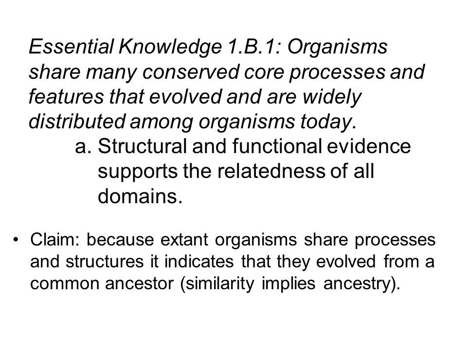Essential Knowledge 1.B.1: Organisms share many conserved core processes and features that evolved and are widely distributed among organisms today. a. Structural and functional evidence supports the relatedness of all domains.