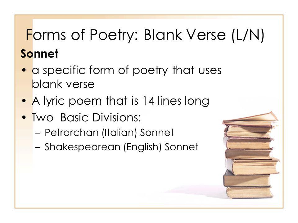 Forms of Poetry: Blank Verse (L/N)