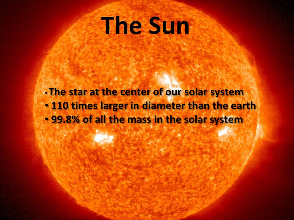 The Sun 110 times larger in diameter than the earth