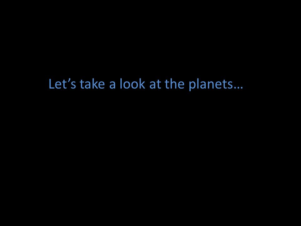 Let's take a look at the planets…