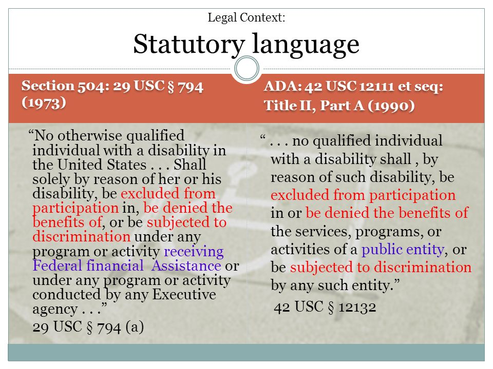 Legal Context: Statutory language