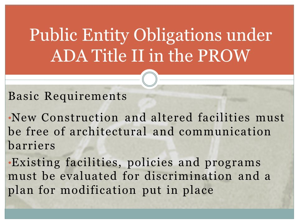 Public Entity Obligations under ADA Title II in the PROW