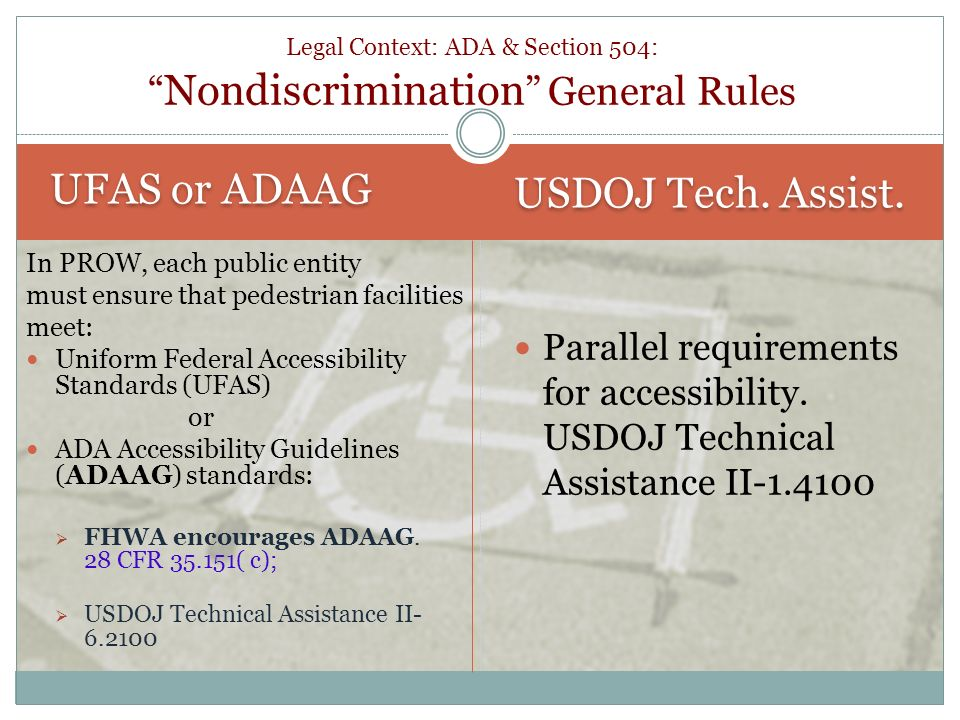 Legal Context: ADA & Section 504: Nondiscrimination General Rules