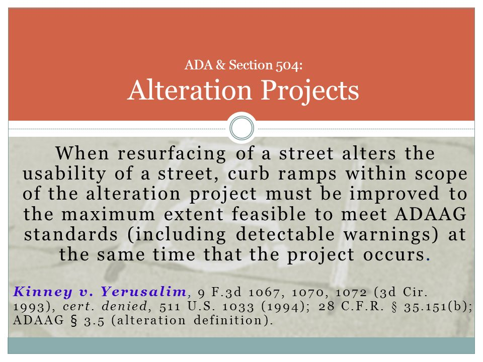 ADA & Section 504: Alteration Projects