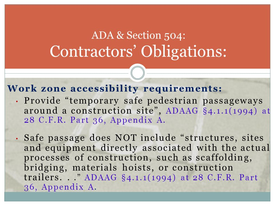 ADA & Section 504: Contractors' Obligations: