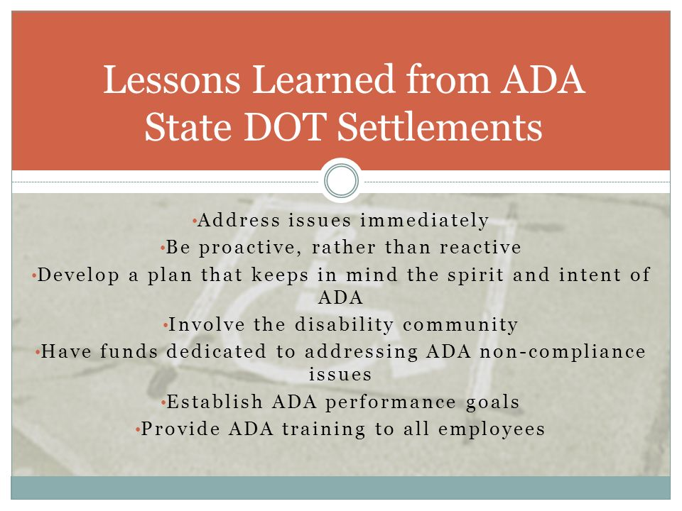 Lessons Learned from ADA State DOT Settlements