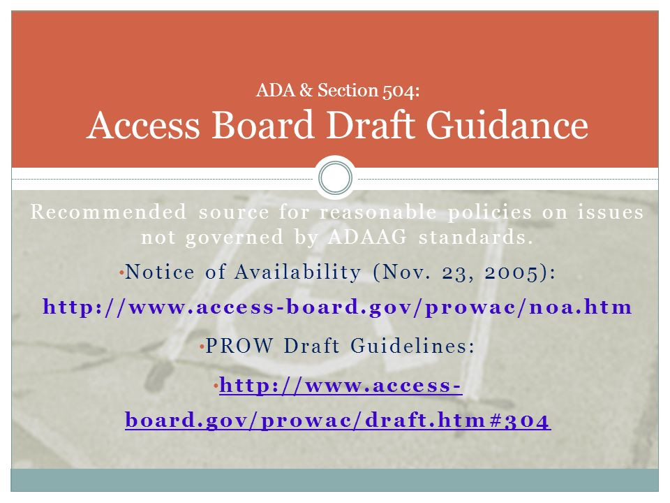 ADA & Section 504: Access Board Draft Guidance