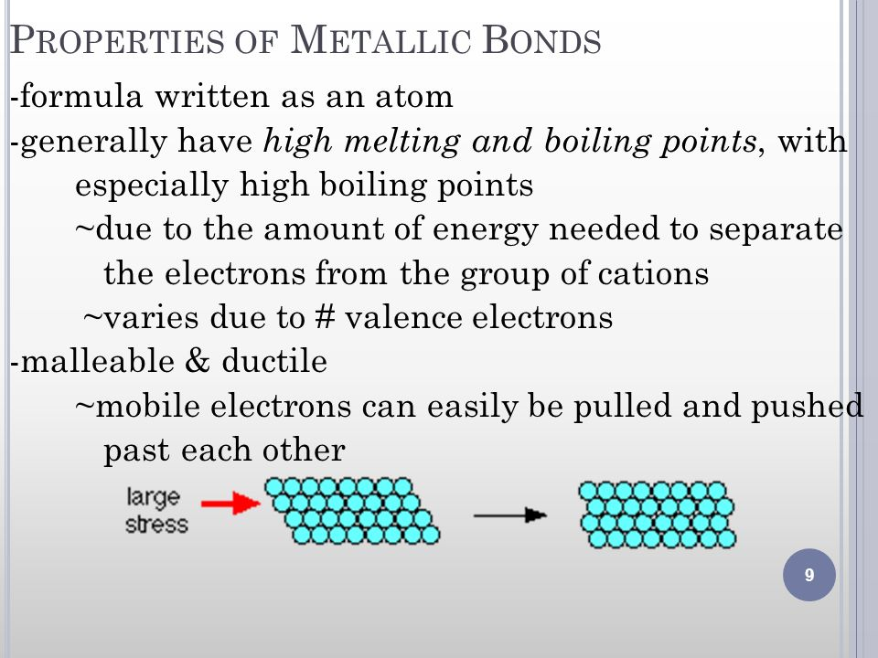 Properties of Metallic Bonds
