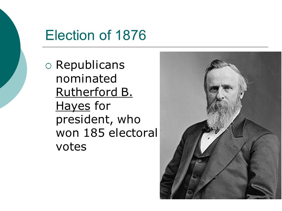 Election of 1876 Republicans nominated Rutherford B.