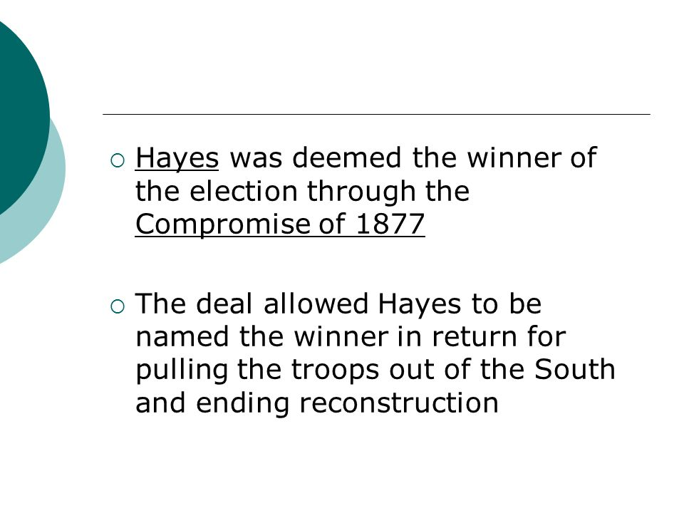 Hayes was deemed the winner of the election through the Compromise of 1877