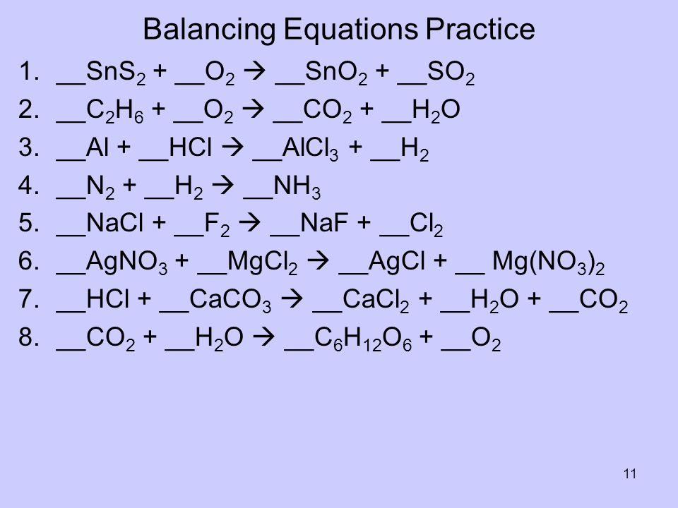 Balancing Equations Practice