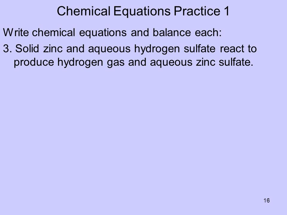 Chemical Equations Practice 1