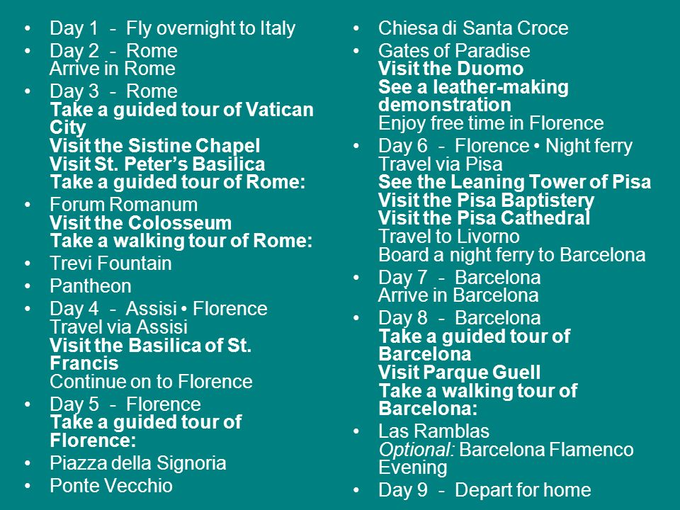 Day 1 - Fly overnight to Italy