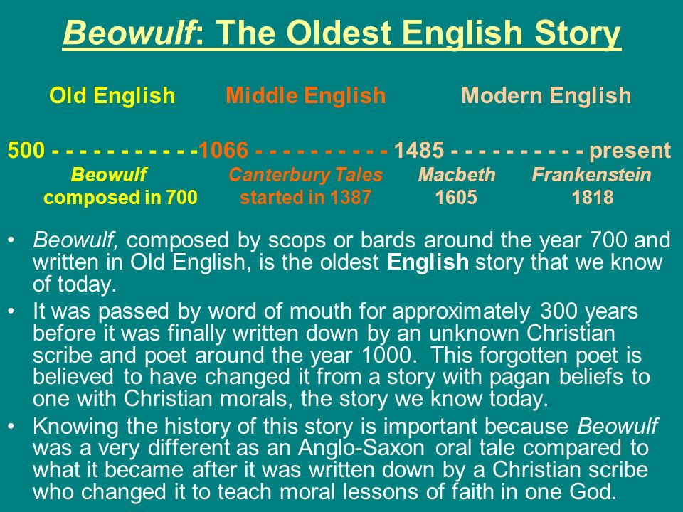 Beowulf: The Oldest English Story
