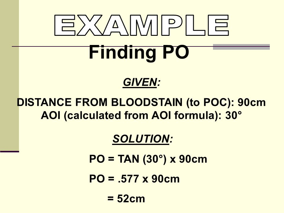 Finding PO EXAMPLE GIVEN: