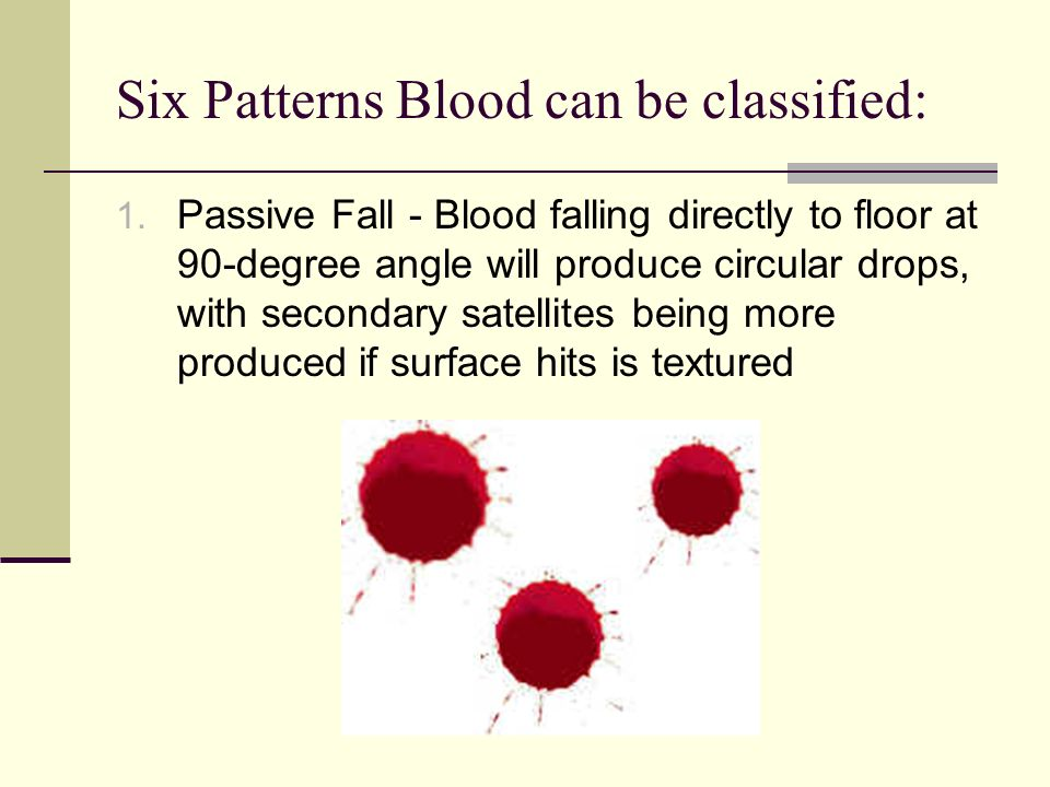 Six Patterns Blood can be classified: