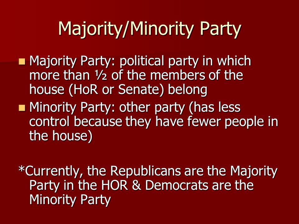 Majority/Minority Party