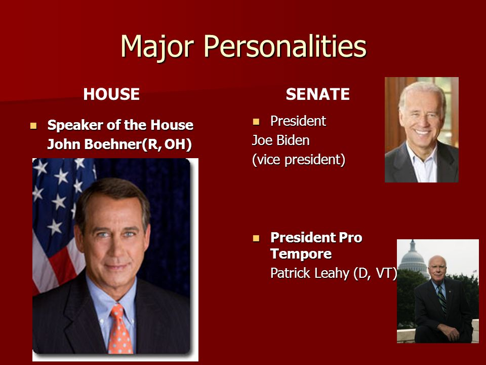 Major Personalities HOUSE SENATE President Speaker of the House