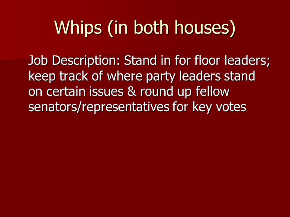 Whips (in both houses)