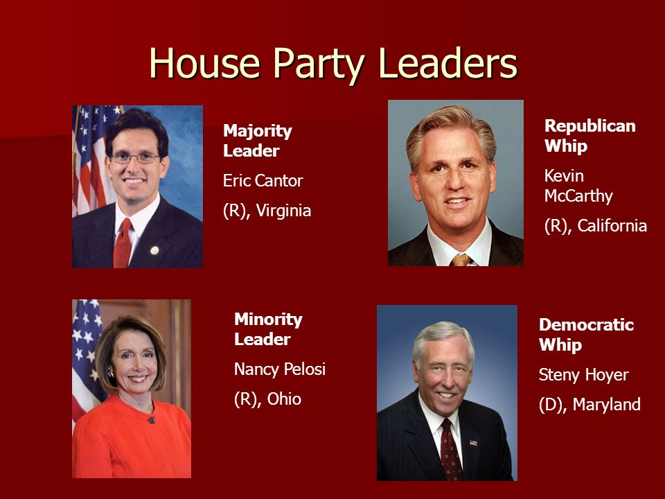 House Party Leaders Republican Whip Majority Leader Kevin McCarthy