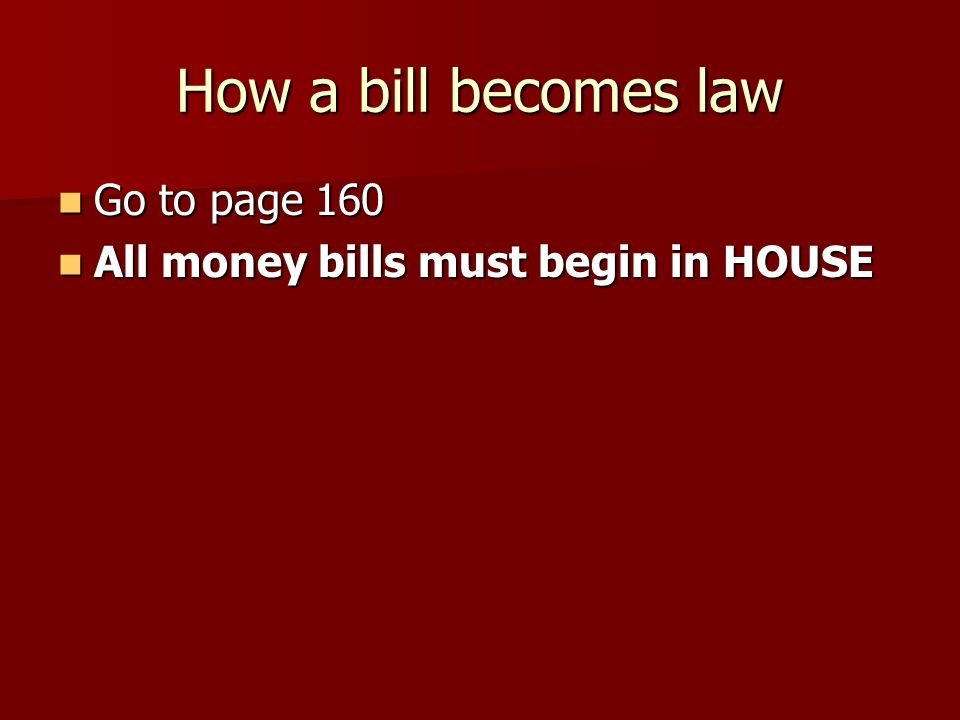 How a bill becomes law Go to page 160