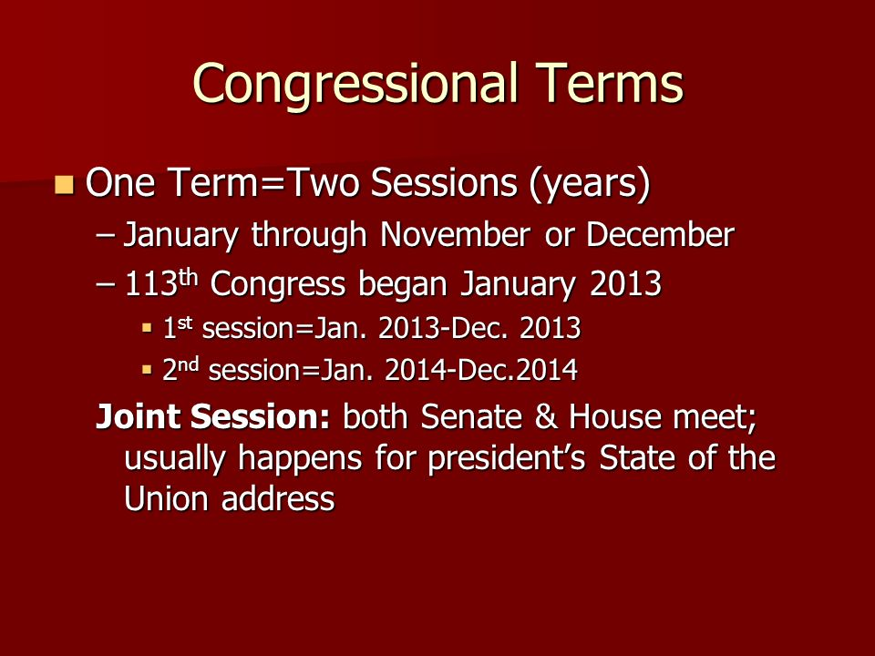 Congressional Terms One Term=Two Sessions (years)