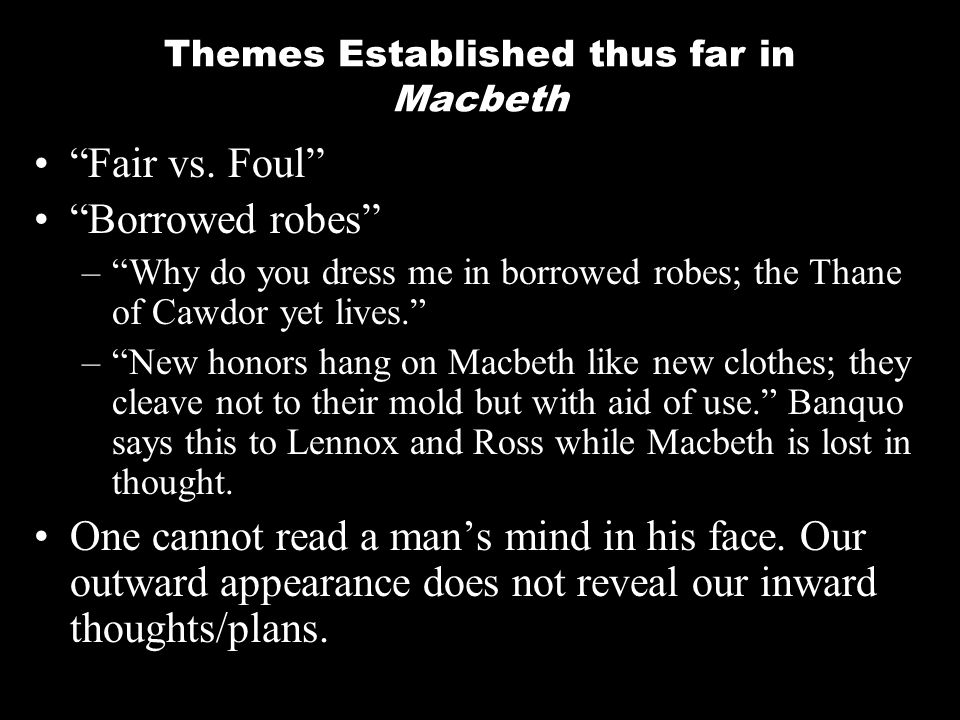 """macbeth the theme fair is foul and fair is foul Theme in macbeth: """"fair is foul, foul is fair"""" examples best free essays and papers database on studymoose click here to know what is the meaning of fair is foul and foul is fair."""