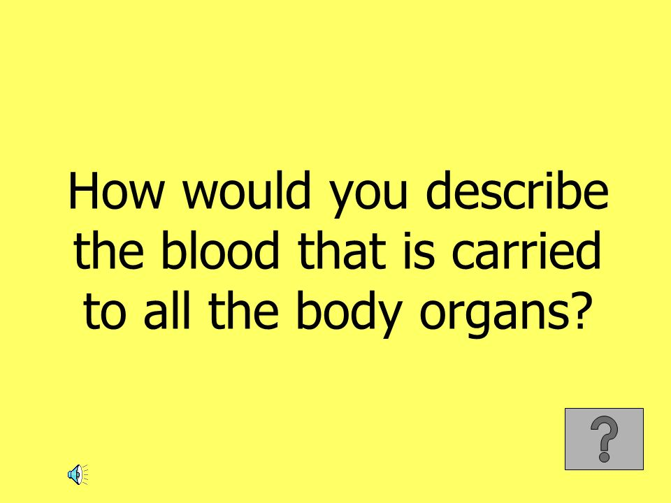 How would you describe the blood that is carried to all the body organs
