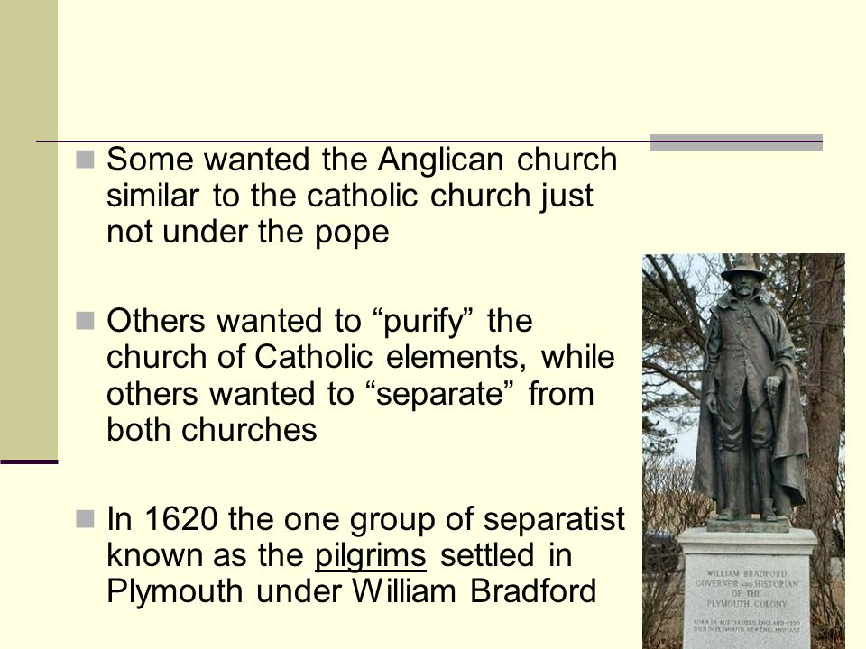 Some wanted the Anglican church similar to the catholic church just not under the pope