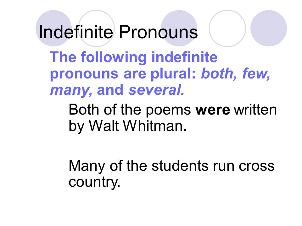 Indefinite Pronouns Both of the poems were written by Walt Whitman.