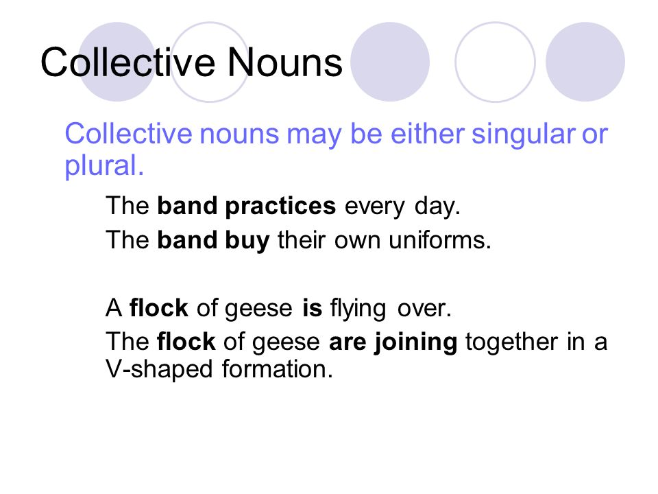 Collective Nouns Collective nouns may be either singular or plural.