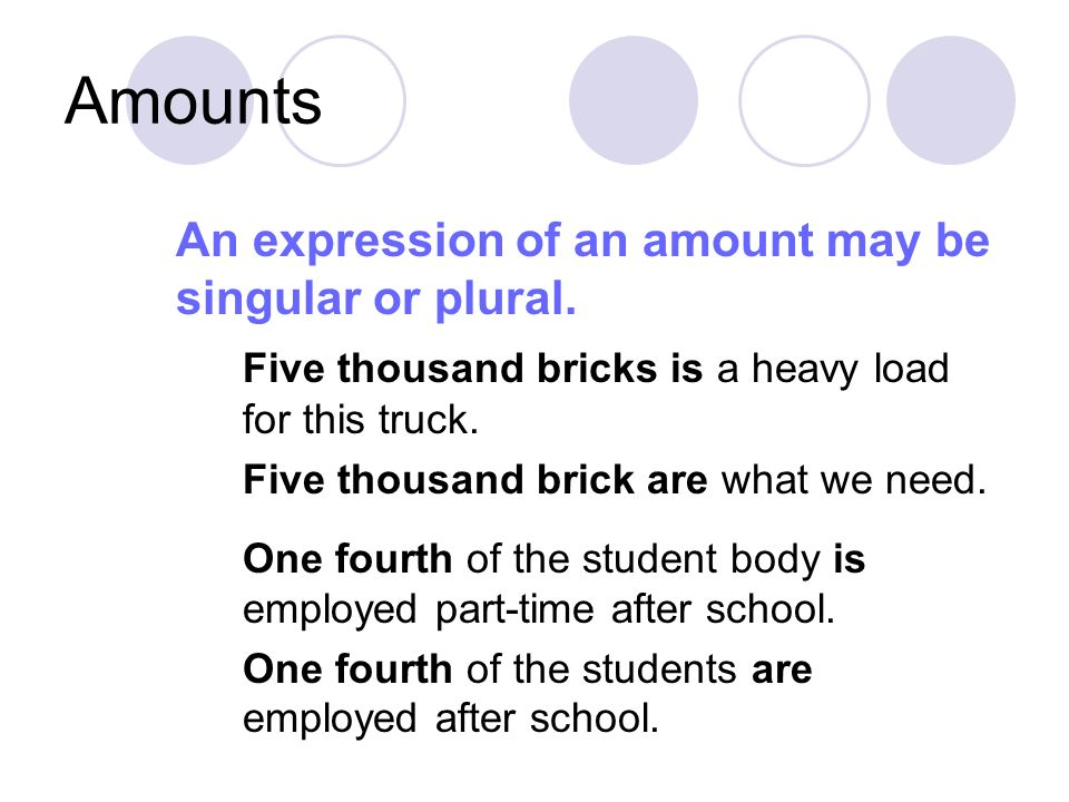 Amounts An expression of an amount may be singular or plural.