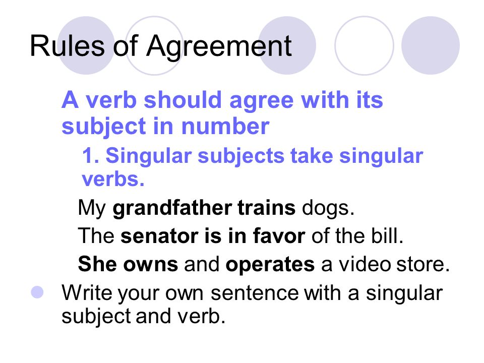 Rules of Agreement A verb should agree with its subject in number