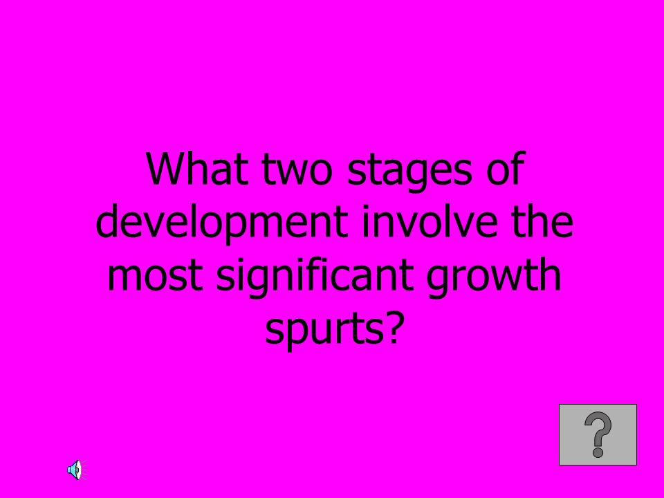 What two stages of development involve the most significant growth spurts