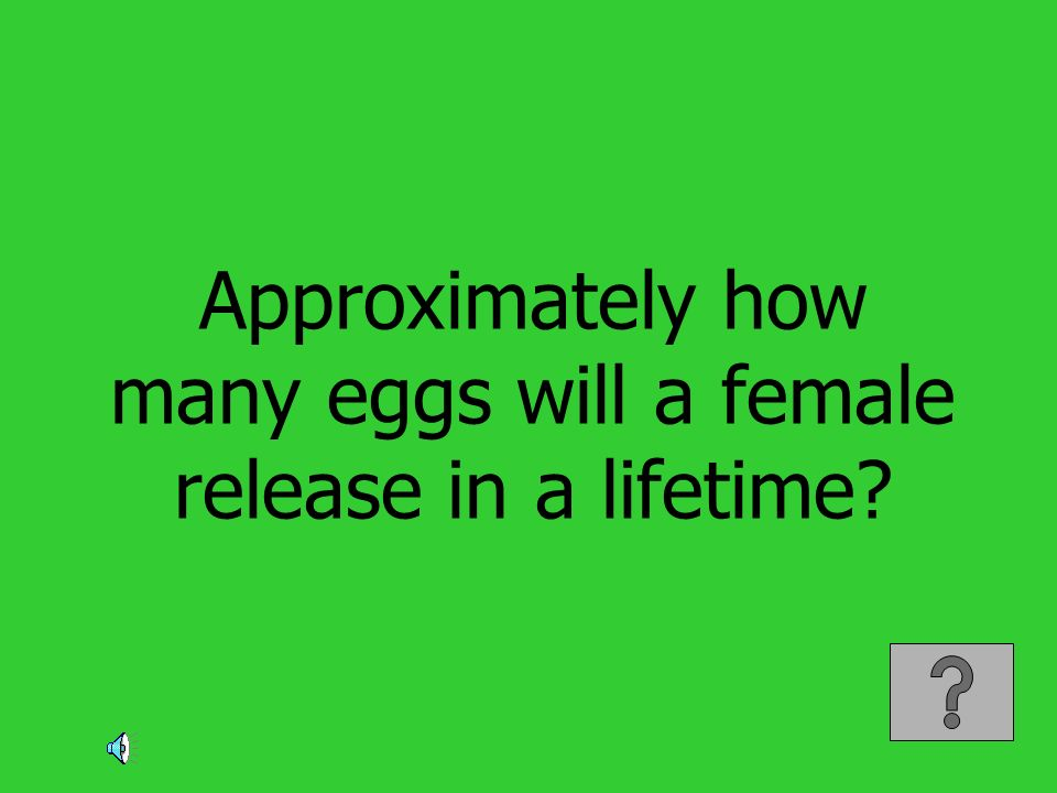 Approximately how many eggs will a female release in a lifetime