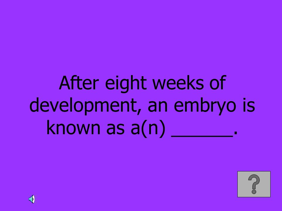 After eight weeks of development, an embryo is known as a(n) ______.