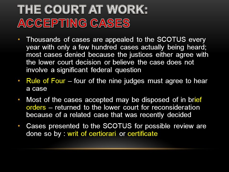 THE COURT AT WORK: ACCEPTING CASES