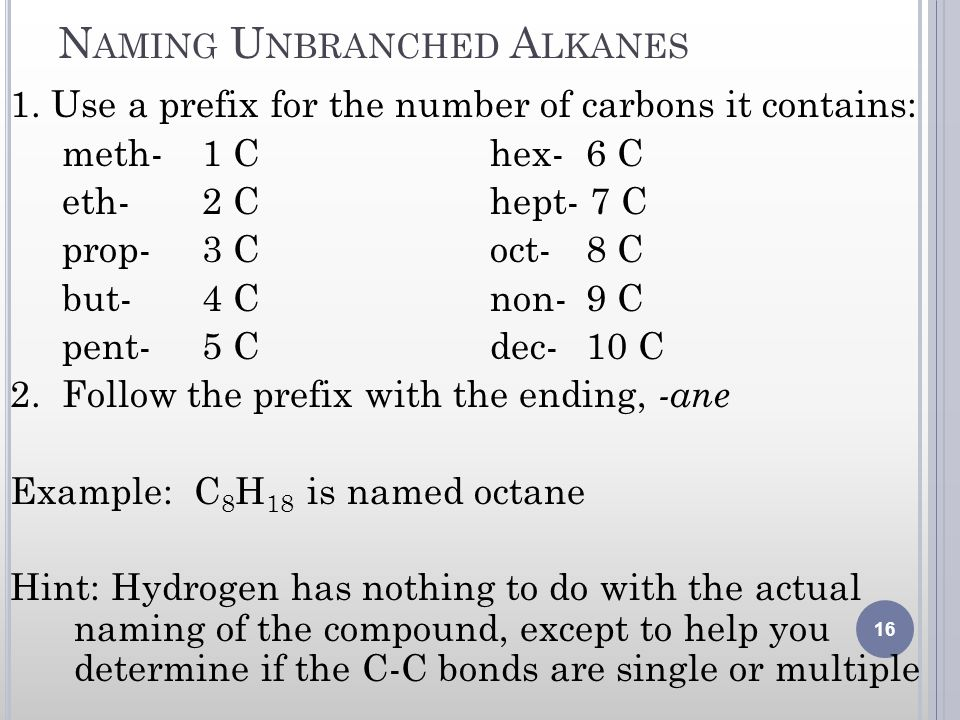 Naming Unbranched Alkanes