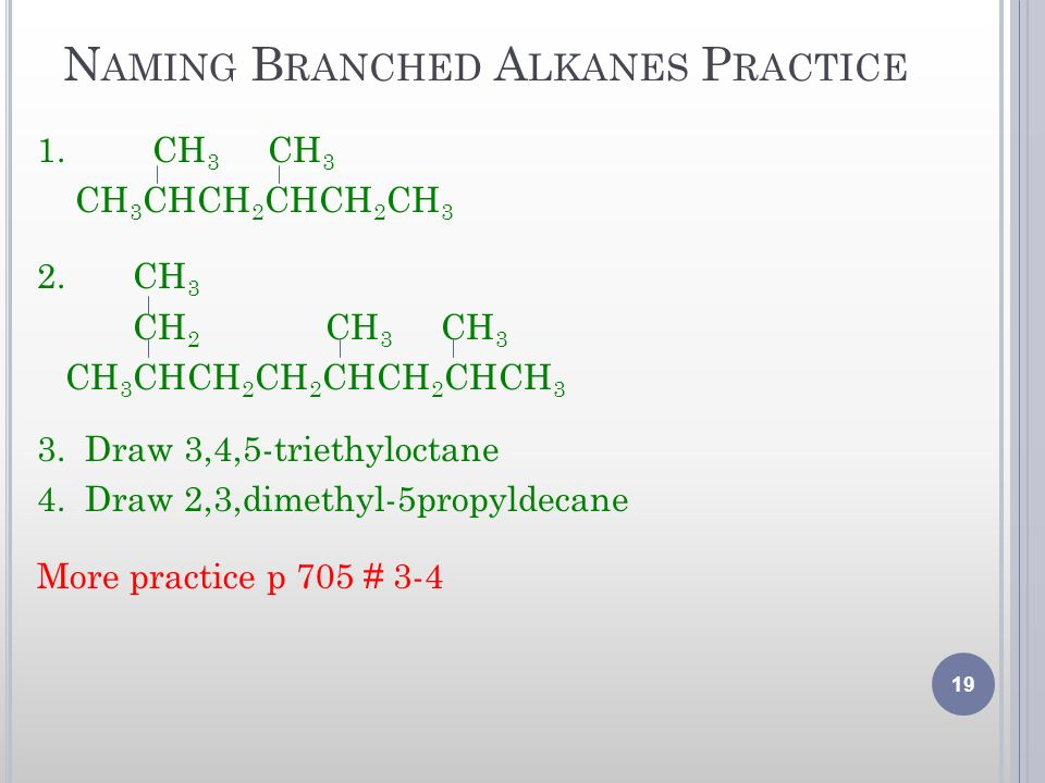 Naming Branched Alkanes Practice