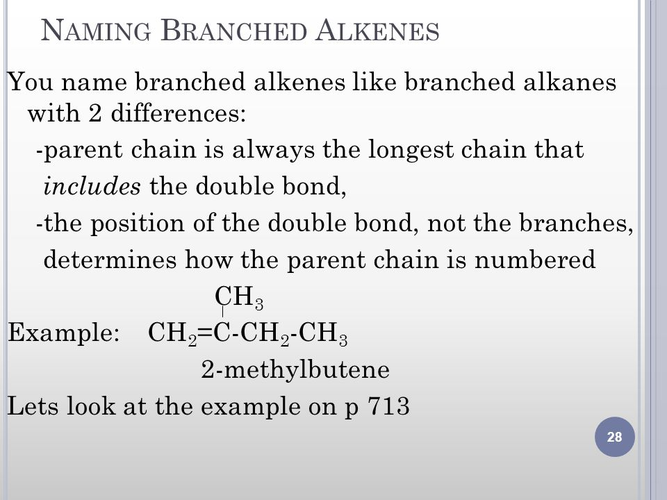 Naming Branched Alkenes