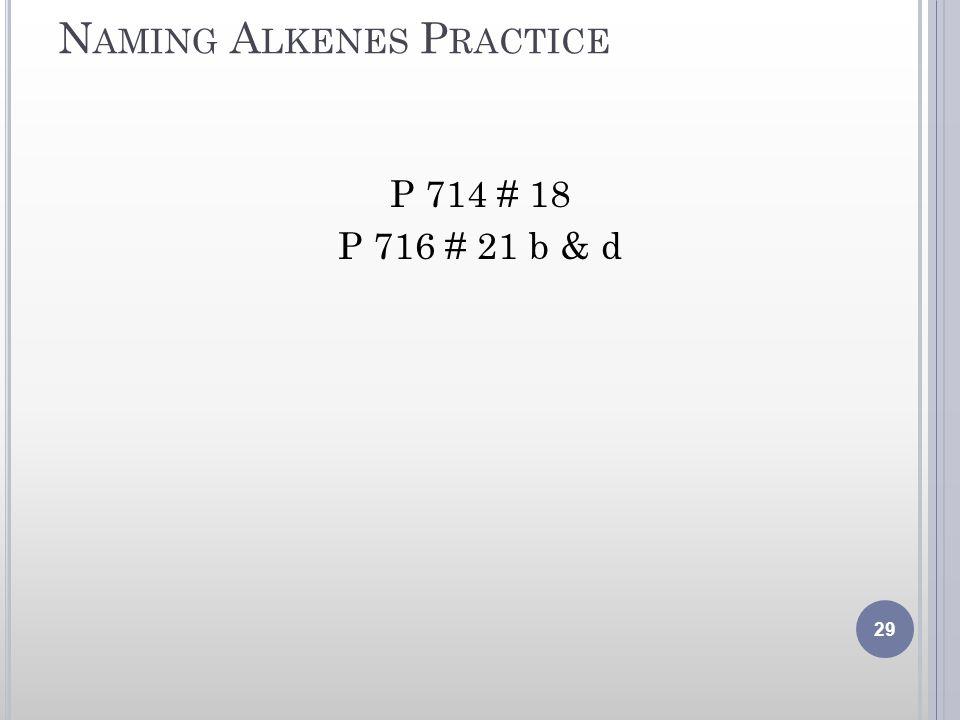 Naming Alkenes Practice