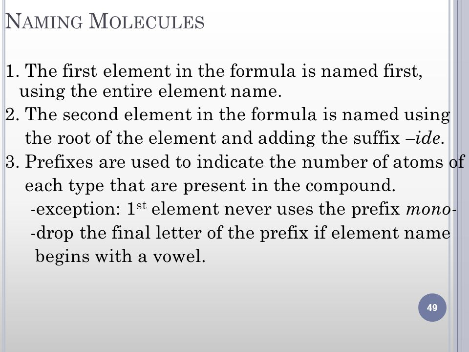 Naming Molecules