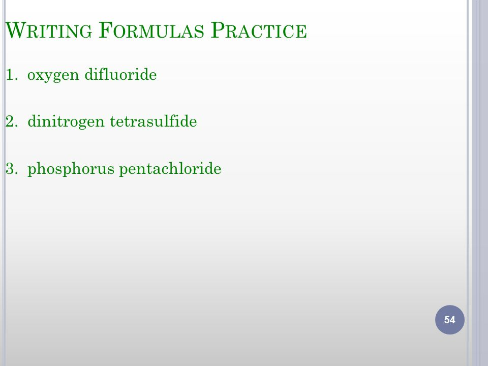 Writing Formulas Practice