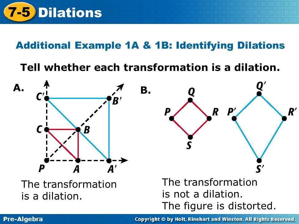 Additional Example 1A & 1B: Identifying Dilations