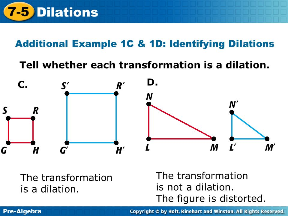 Additional Example 1C & 1D: Identifying Dilations