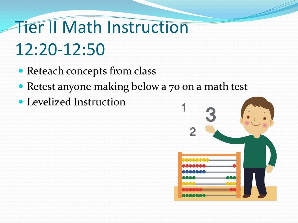 Tier II Math Instruction 12:20-12:50