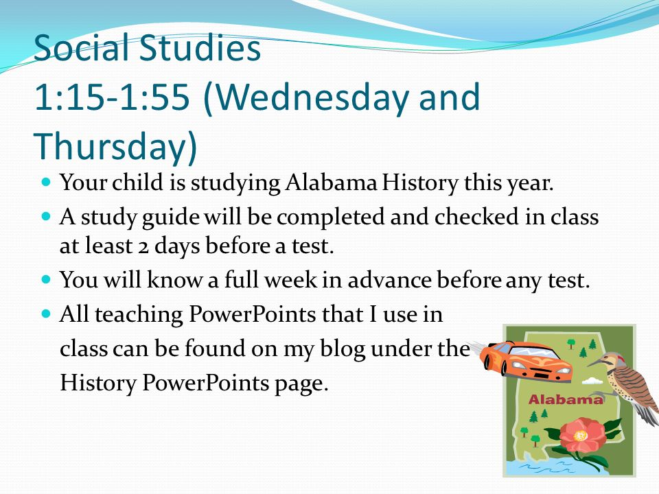 Social Studies 1:15-1:55 (Wednesday and Thursday)