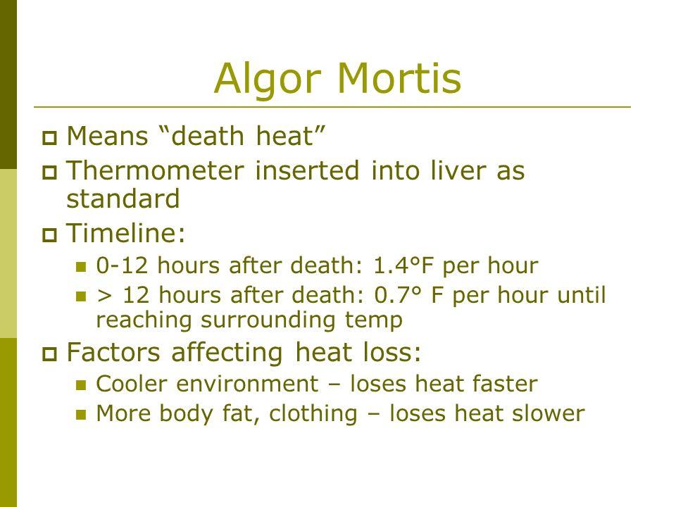 Algor Mortis Means death heat