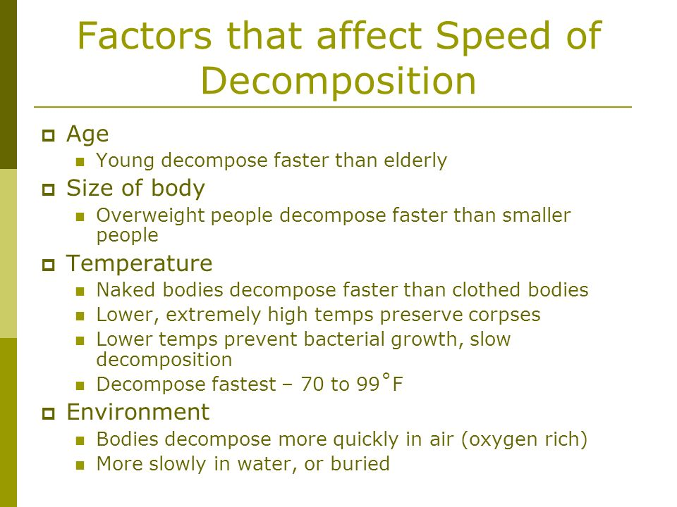Factors that affect Speed of Decomposition
